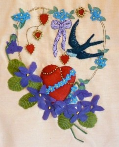 violets & swallow valentine